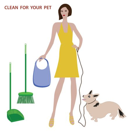 Take care of your dog - Charming corgi puppy on a leash - woman with a package in hand - broom and scoop - vector