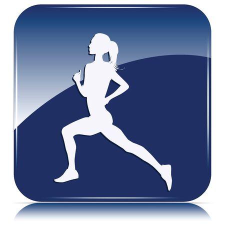 Runner, girl silhouette - blue icon - isolated on white background - vector