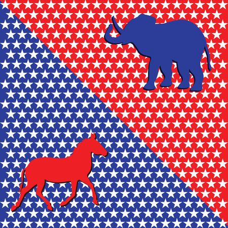 Donkey and Elephant - white stars on blue and red background - vector. US Political Parties. Republican and Democratic Talismans