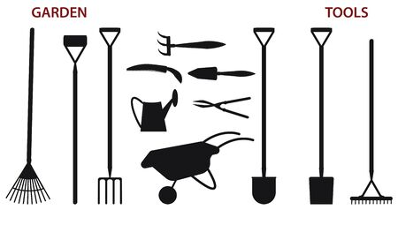 Gardening Tools Silhouette - shovels, rakes, wheelbarrow, watering can, pruner - isolated on white background - flat style - vector. Ilustração
