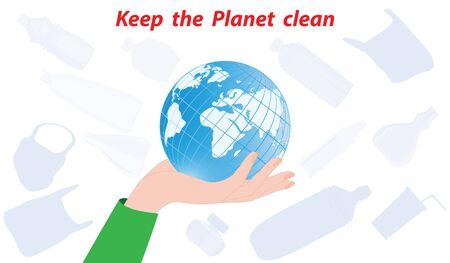 Globe in female hand - silhouettes of plastic bags, bottles - isolated on white background - vector. Keep the planet clean Çizim