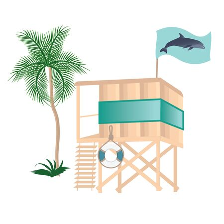 The lifeguard tower on the water - a palm tree, a flag with a dolphin, a life preserver - isolated on a white background - vector.
