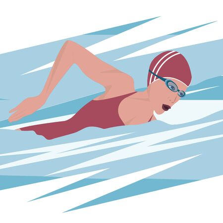 Swimmer woman in a red swimsuit, glasses, cap, abstract waves - isolated - vector. Sports lifestyle. Pool. Character for water sports. Stock Illustratie