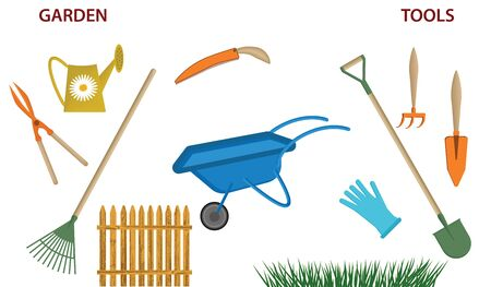Gardening supplies - cart, watering can, shovel, rake - wooden fence, grass - isolated on white background - vector Ilustração