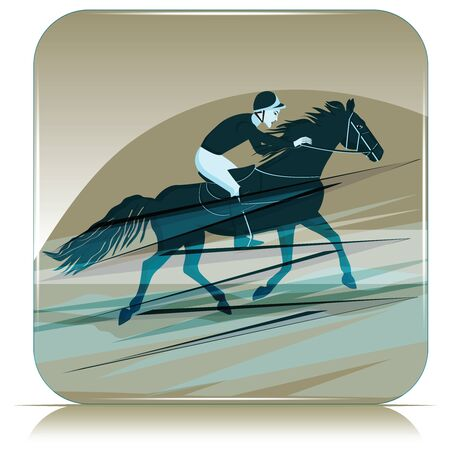 Icon with abstract background - jockey at the races. Riding a horse - vector. Sport. Illustration
