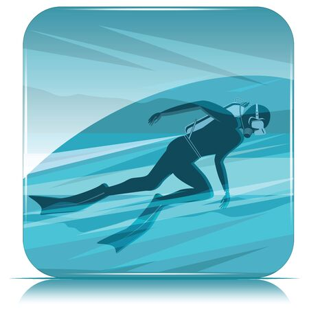 Diver silhouette on abstract sea background. The concept of sports diving.