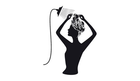 Silhouette woman with foam on the head washes the hair under the shower - isolated - on white background - flat style - vector. Body care
