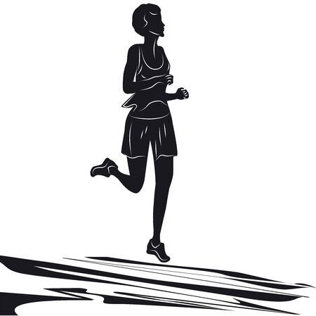 Runner sketch - abstract element - isolated on white background - vector