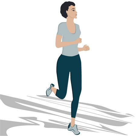 Morning running . Woman jogging - abstract element - isolated on white background - vector  イラスト・ベクター素材