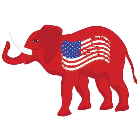 Elephant - political symbol of republicans - grunge usa flag - vector. US political parties