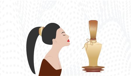 Girl with a long tail on her head and an original bottle of perfume - abstract background - vector Ilustracja