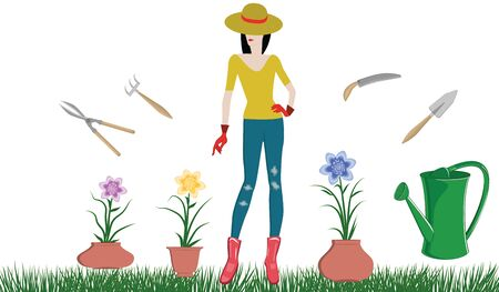 Work in the garden. Girl in a hat, in rubber gloves and boots, tools - ceramic pots with flowers, watering can - isolated on white background - vector