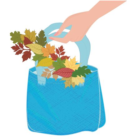 Canvas bag in a female hand - a garland of beautiful autumn leaves - flat style - isolated on white background - vector. Stop using plastic. Eco product. Illustration