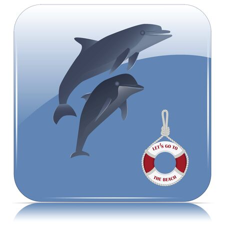 Dolphins and a life buoy with the inscription - Lets go to the beach - blue icon - isolated on white background - vector
