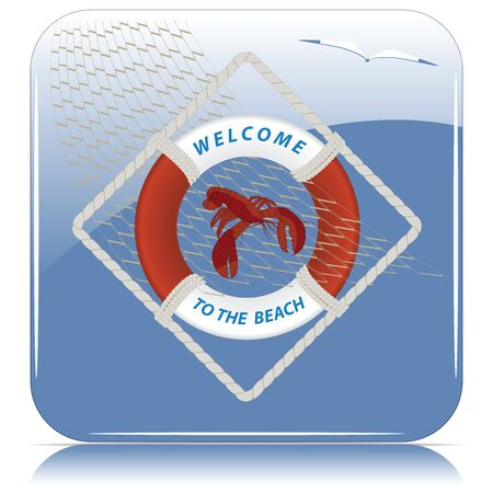 Lifebuoy, lobster, fishing net. Welcome to the beach. The concept of sports recreation. Isolated blue square icon.