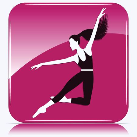 Jumping dancer silhouette - pink square icon - isolated on white background - vector