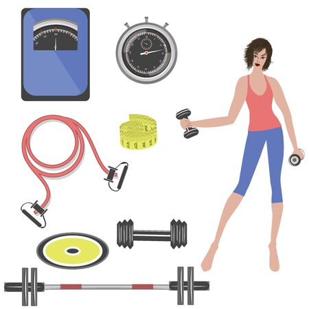 Sports equipment - barbell, jump rope, scales and measuring tape for weight control. Girl with kettlebells - isolated on white background - vector. Life style.