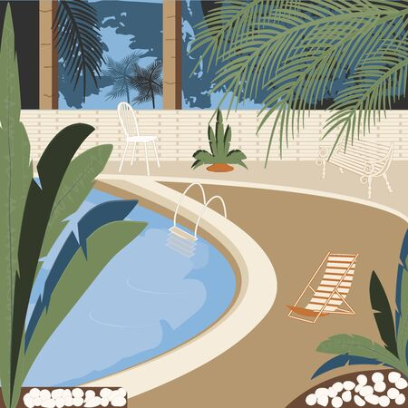 Pool - interior - chaise longue, armchair, chair, trees, fenced area, - illustration, vector. Relaxation. Swimming.