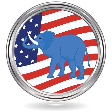 Elephant political symbol of republicans on USA flag background - Round metallic icon - vector. US political parties