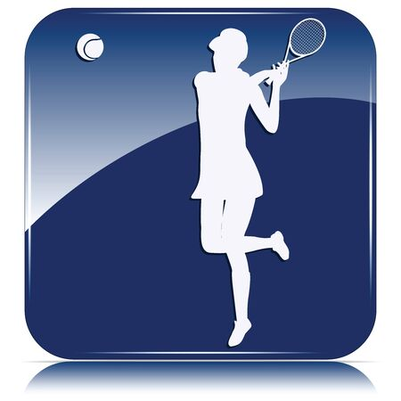 Blue icon - tennis player silhouette with racket and ball - isolated on white background - vector Ilustrace