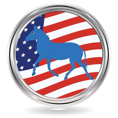 Donkey political symbol of the Democrats on the background of the USA flag - Metal round icon - vector. US political parties