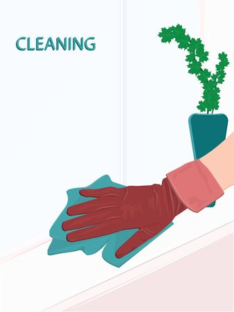 Home cleaning - A hand in rubber glove washes a window sill with a rag - flat style - vector