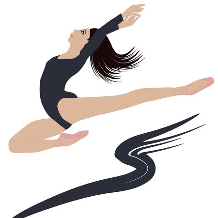 Jumping ballerina - black and white decor element - isolated - flat style - vector Ilustrace