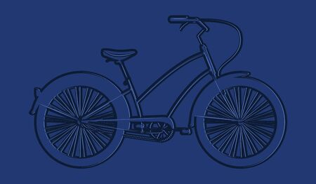 Silhouette of a bicycle, female, urban - blue on blue background - vector