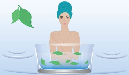 Woman nude, in a towel turban, takes cosmetic procedures - glass basin with green leaves - illustration, vector. Body care Иллюстрация