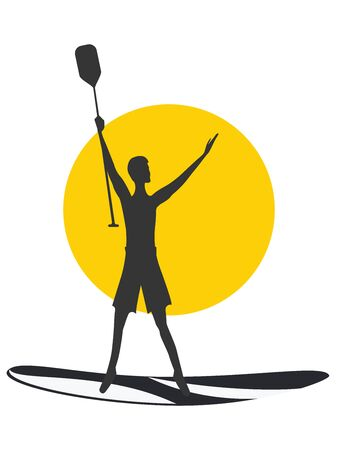 Silhouette of a surfer with a paddle on a surfboard, yellow sun - isolated on white background - vector