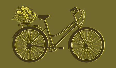 Silhouette bicycle with basket of flowers - mustard yellow background - flat style - vector