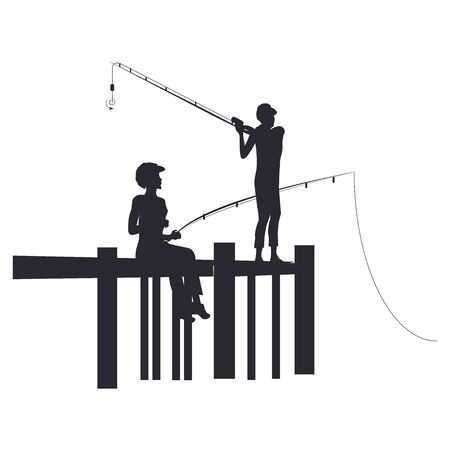 Fishing - two silhouettes of girls with fishing poles on the pier - isolated on white background - vector. Summer rest.