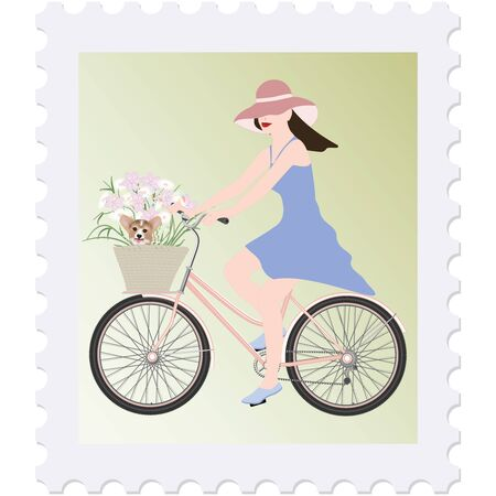 Postage stamp - Girl on bike, basket with a bouquet of flowers and a dog - isolated on white background - vector. Journey. Paris.