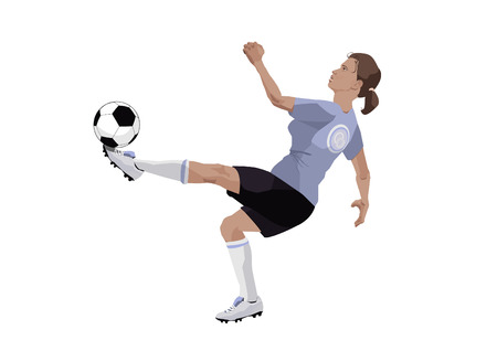 Illustration of a girl, playing football  Vector