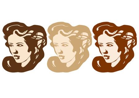 グラフィックは異なる色の髪の 3 つの長い髪女の子
