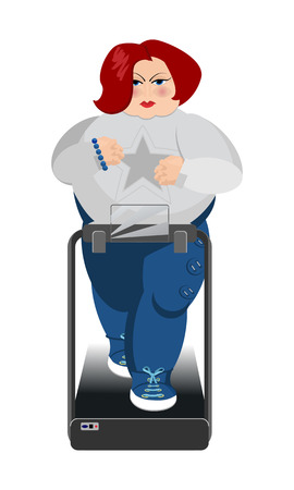 chaser: Vector illustration of a woman on the treadmill  Solid fill only  No gradients, gradient mesh  Illustration