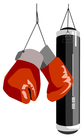 pugilism: Vector illustration of boxing items  Solid fill only  No gradients, gradient mesh