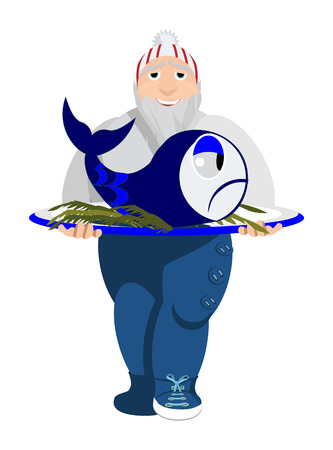 eating habits: Vector illustration of a norwegian cook with fish  Solid fill only  No gradients, gradient mesh  Illustration