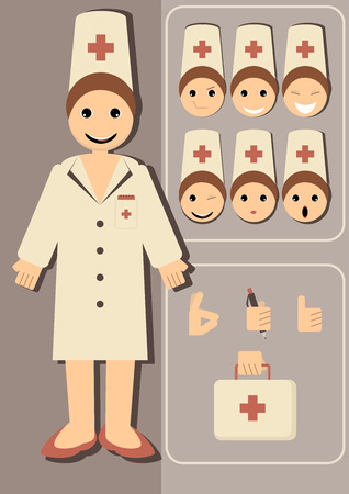 Vector illustration of a doctor with different emotions and hand gestures to choose. Vector