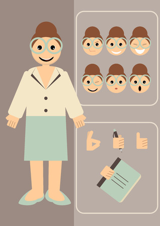 illustration of a teacher with different emotions and hand gestures to choose. Vector