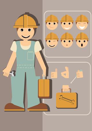 illustration of a builder with different emotions and hand gestures to choose. Vector