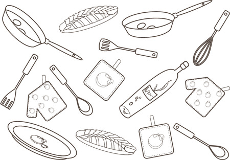 Vector illustration of a kitchen pattern  Linear drawing  Vector