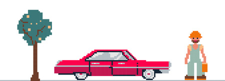 vector illustration of car, tree and man stylized as a pixel art Vector
