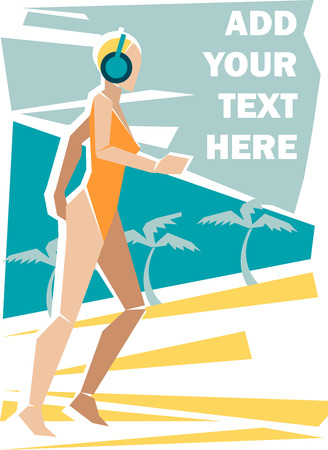 Vector illustration of a girl in swimwear running on the beach and listening to music  Solid fill only  Vector