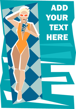 Vector illustration of a girl in swimwear swimming  on the air mattress and drinking cocktail  Solid fill only  Vector