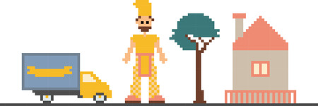 pixelart: vector illustration of car, tree, house and man stylized as a pixel art