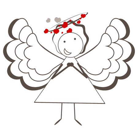 illustration of a cute angel. Vector