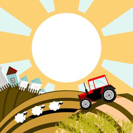 illustration of a rural landscape. Solid fill only. Vector