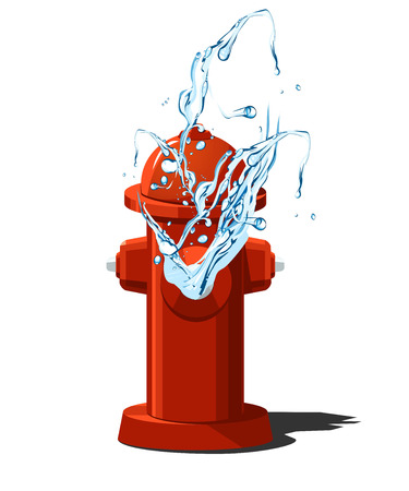 vector illustration of fire hydrant with splashing water. Vector