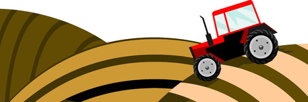 Vector illustration of a field with red tractor. Solid fill only. Vector